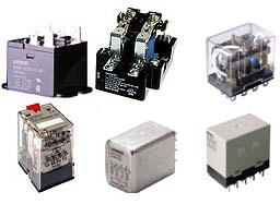 Types of industrial relays that include plug-in type relays, relays mounted in industrial panels & relays that are mounted in printed circuit boards.