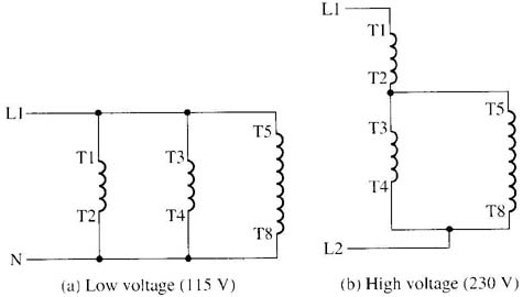 12 42 changing voltage & speeds of single phase motors single phase dual voltage motor wiring diagram at gsmx.co