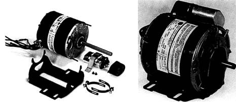 Examples of permanent split-capacitor (PSC) motors. Notice the run capacitor mounted on the second motor.