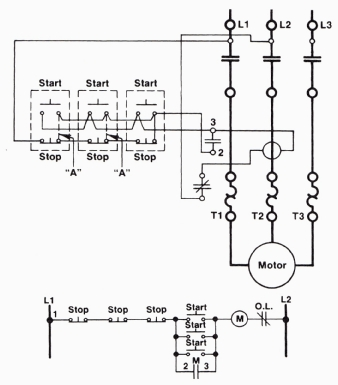 a three-wire start/stop circuit with multiple start/stop push buttons, Wiring diagram
