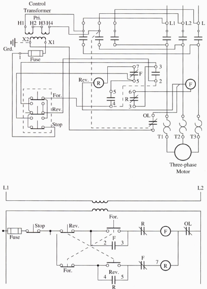 wiring diagrams 3 phase motor starters wirdig image a wiring diagram amp ladder diagram of a forward amp reverse motor