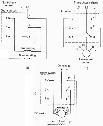 reversing motors with a drum switch, Wiring diagram