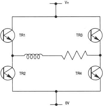 A chopper amplifier circuit for a stepper motor. This circuit is also known as a re-circulating chopper amplifier.