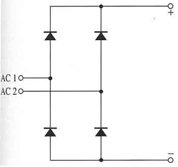 four diode full wave bridge rectifier electronic schematic of the four diode bridge where the diodes are shown in a box