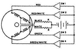 Diagram of switching circuits for stepper motor.
