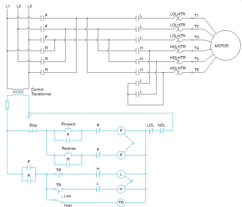 Two-Speed, One-Winding (Consequent Pole) Motor Controller | Two Speed Motor Starter Wiring Diagram |  | Industrial Electronics