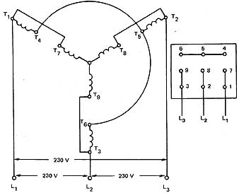 Wye Delta Motor Wiring Diagram on 3 phase motor winding diagrams