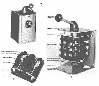 starting three phase, squirrel cage induction motors drum switch for capacitor start motor 10 a) reversing drum switch b) a bakelite section of a drum switch c) bakelite section with cover removed