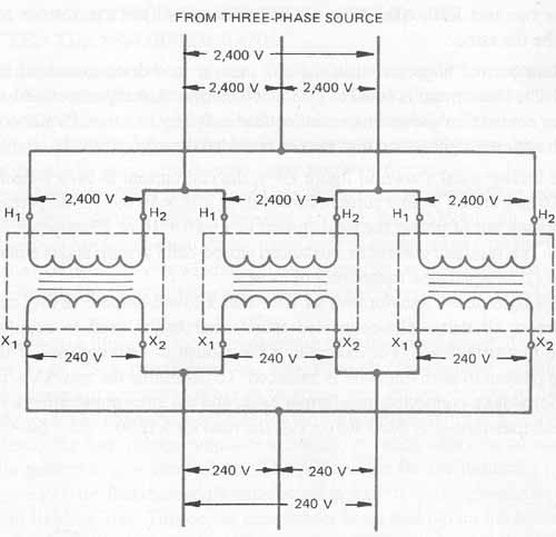 Single-Phase Transformers Connected In Delta on buck-boost transformer wiring diagram, 120 240v transformer wiring diagram, power transformer wiring diagram, cutler hammer transformer wiring diagram, mars transformer wiring diagram, toroidal transformer wiring diagram,
