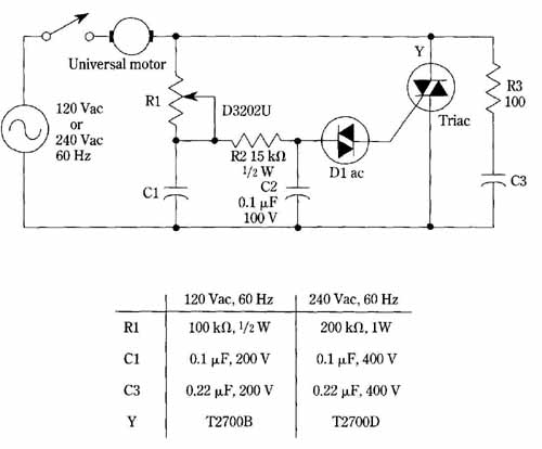 Triac speed control for universal motors for Ac motor speed control methods