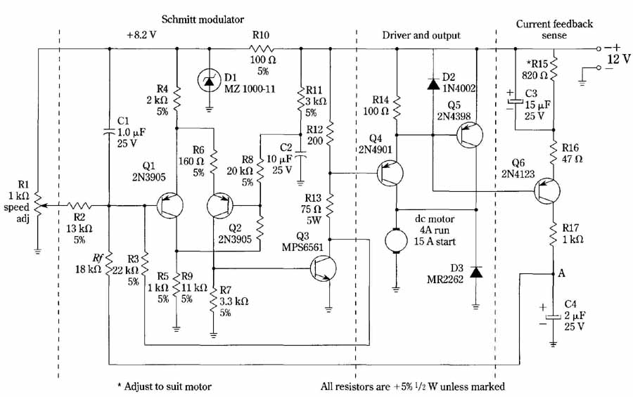 feedback speed control circuit for permanent magnet motors