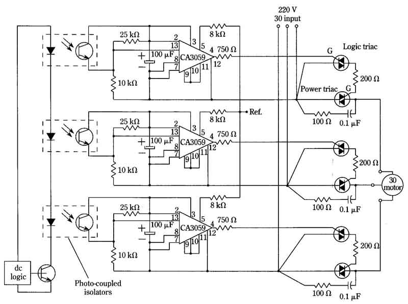 Triac control circuit for three-phase induction motors (Electronic control of non-commutator machines)