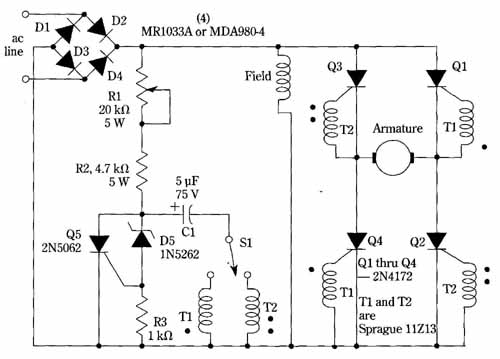 Speed and direction control for dc motors for Forward reverse dc motor control circuit
