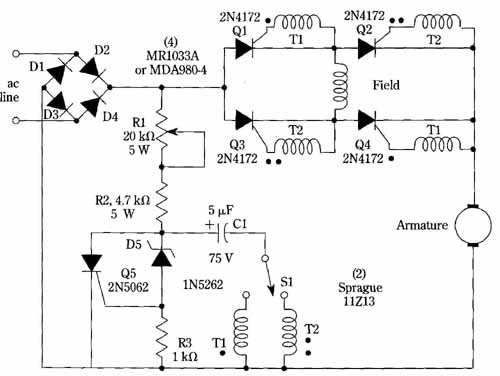 Scr Dc Motor Speed Control Schematic