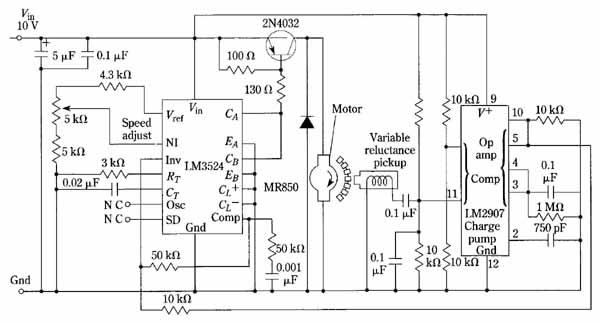 dc motor control with the use of a pulse