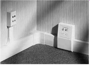 mech-elec_27-19 Raceways For Electrical Wiring on system baseboard, above floor, channel through wall, copper colored, square metal, decore-ative metal,