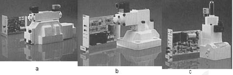Fig. 2: (a) A directional-control valve & amplifier. (b) A pressure-relief valve & amplifier. (c) A flow-control valve & amplifier.