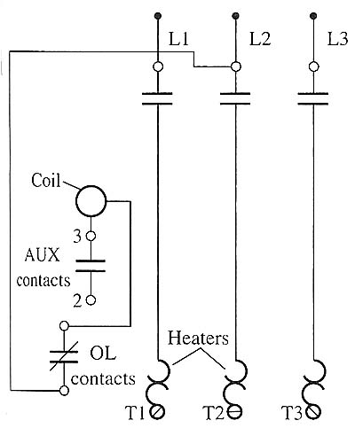 Motor starters electrical diagram of a motor starter the coil overload contacts are also shown ccuart Choice Image