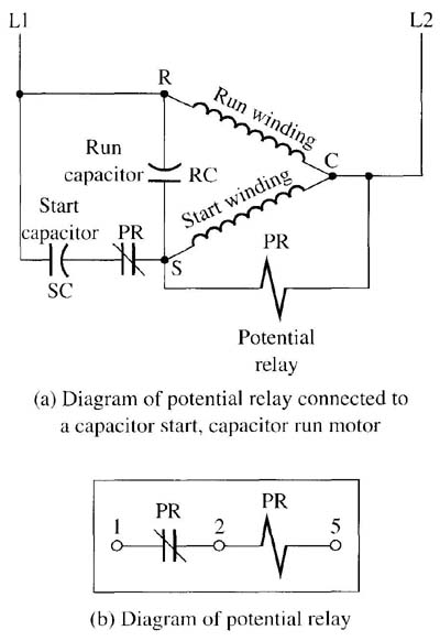 using a potential relay to start a cscr motor rh industrial electronics com potential relay start capacitor wiring diagram compressor potential relay wiring