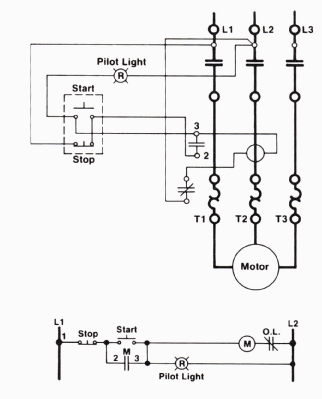 a wiring diagram & a ladder diagram of a three-wire control circuit with an