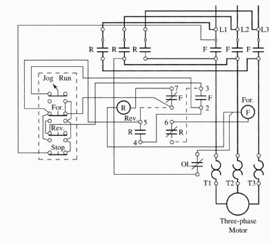 Jogging control circuits for Forward reverse dc motor control circuit