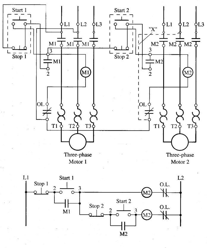 fig  1: motor starters are sequenced so that motor starter 1 must be on