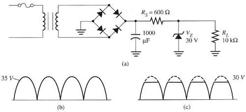 using a zener diode for voltage regulation