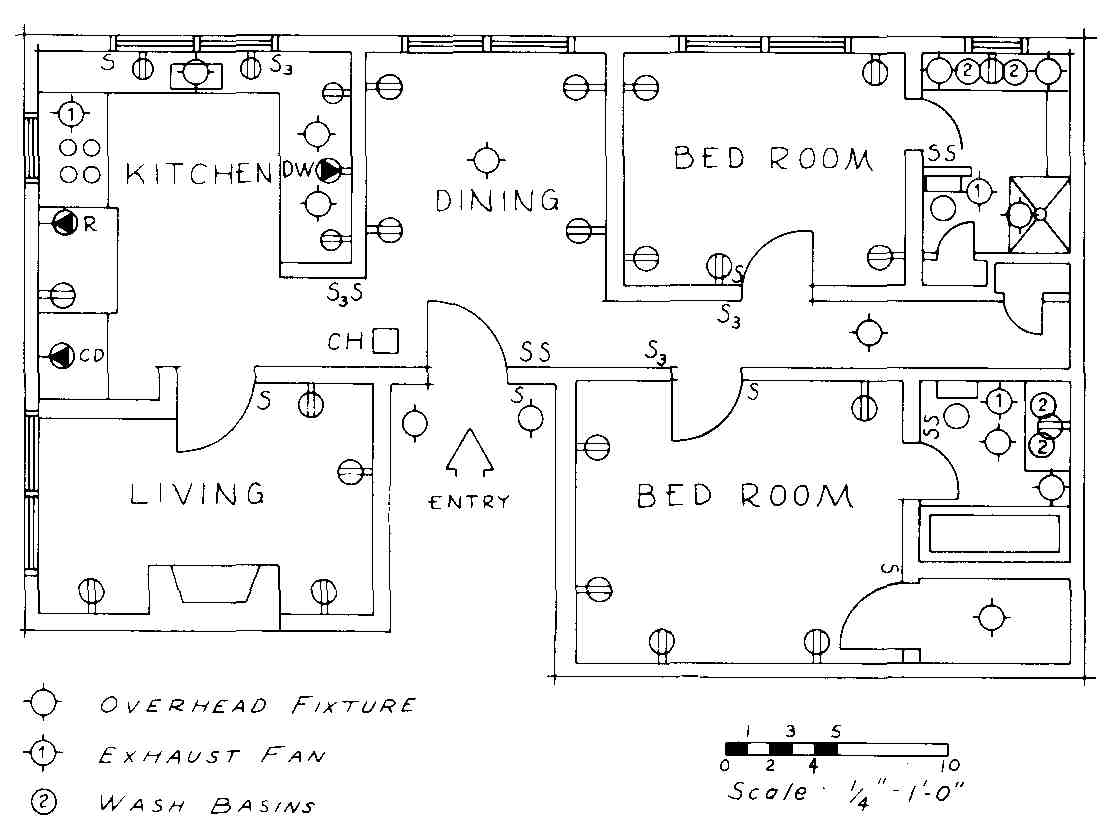 Electrical Drawing For Architectural Plans Pole Circuit Breaker Symbol On 3 Phase Schematic Floor Plan Of Luxury Apartment