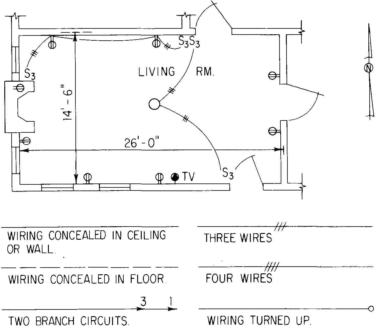 Electrical Drawing For Architectural Plans Entrance From 3 Wires Diagram