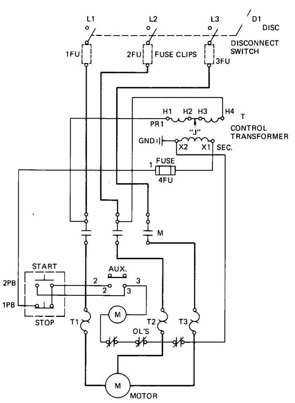 draw a schematic diagram of simple start stop motor control circuit