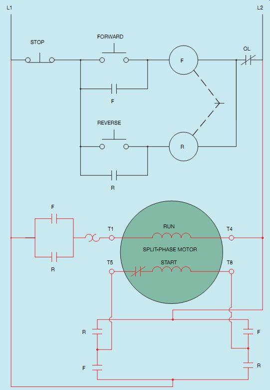 Single Phase Reversing Motor Starter Wiring Diagram from www.industrial-electronics.com